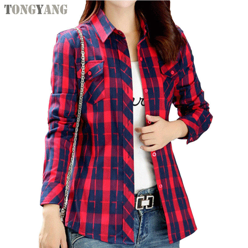 TONGYANG Women Fashion Plaid Cotton Casual Blouse Designs Long Sleeve Turn-down Collar Pocket Women Casual Tops Shirts