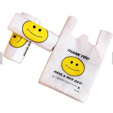 OEM HDPE Thank You Plastic T-shirt Grocery Shopping Bags For Supermarket