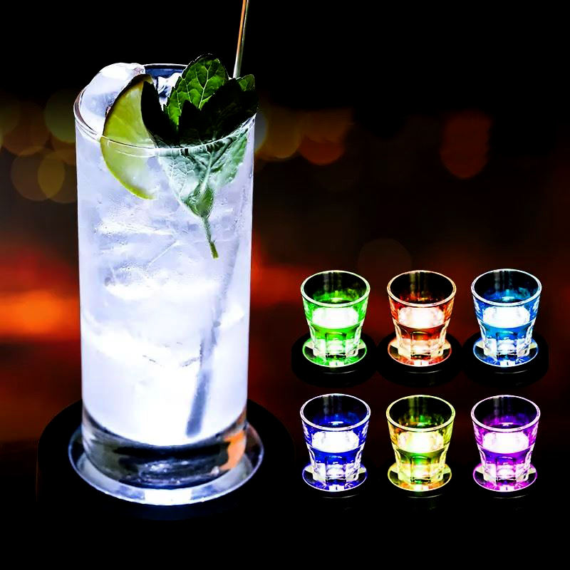 DHL Free Shipping Colorful Changing LED Light Coasters For Drink Glass Bottle