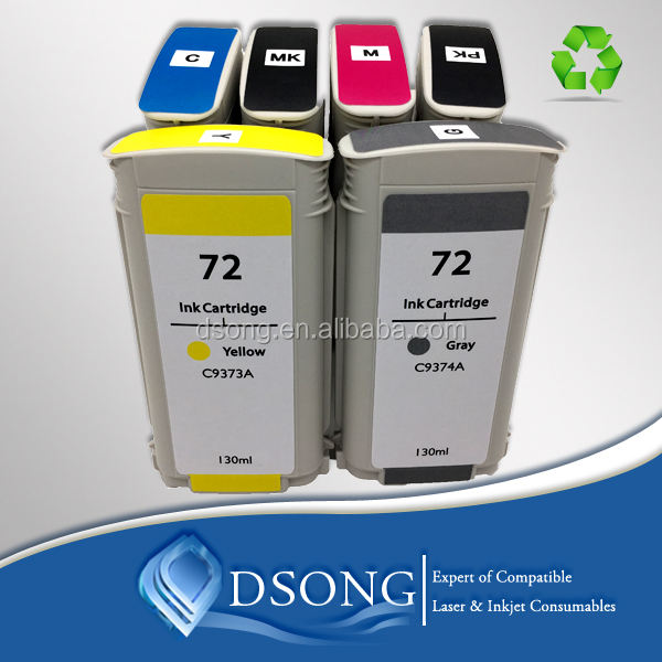 Compatible 6 color ink cartridge for hp Designjet T1100/ T610/T1300/ T790/T620/T770/T1200/T1300/T2300 for HP 72 ink cartridge