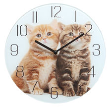glass wall cat clock funny wall clock for home decoration
