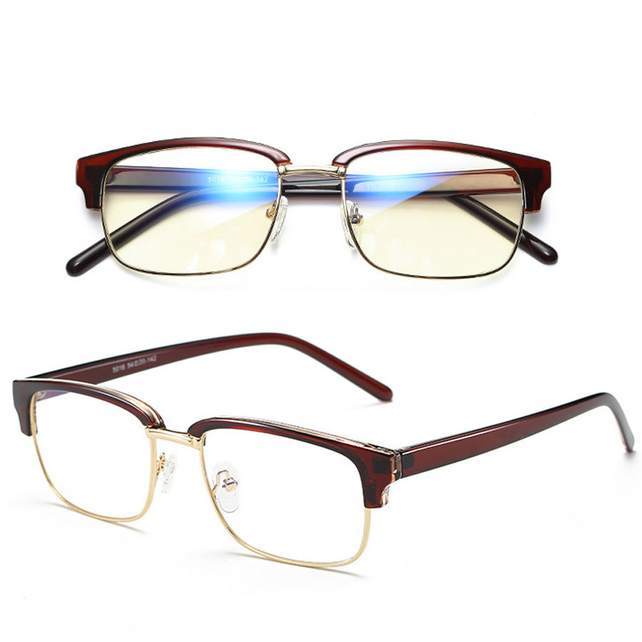 classic square half TR90 frame anti blue light computer game glasses light flexible stress-free eyeglass