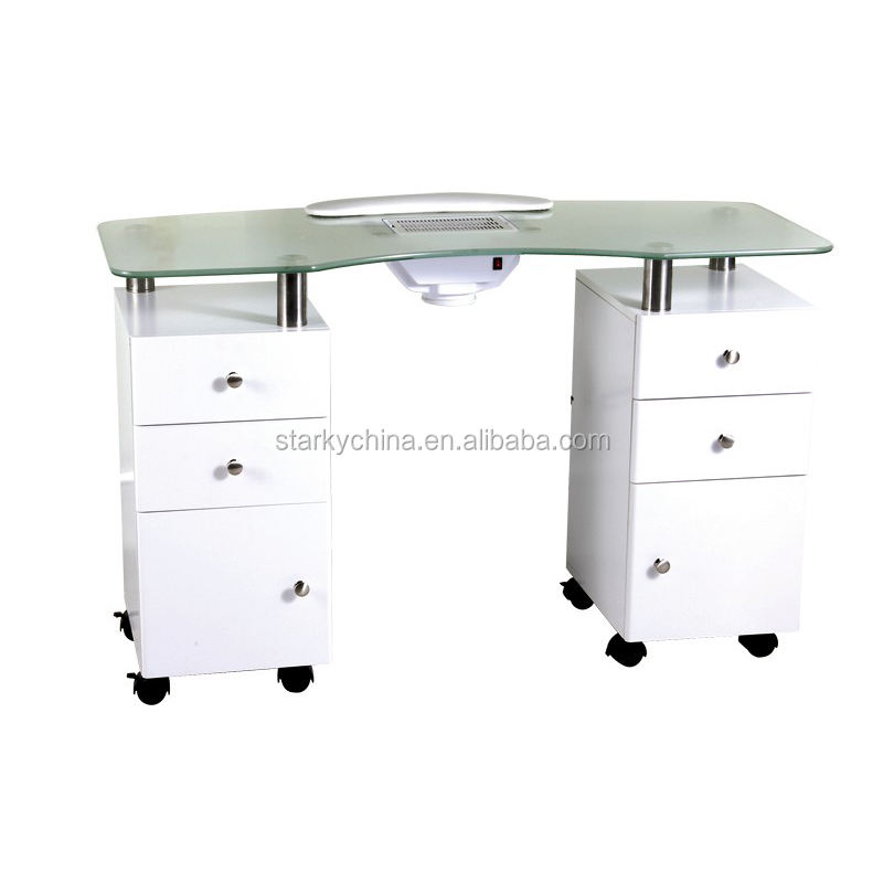 2018 new fashion beauty salon furniture wooden nail table with dust collector
