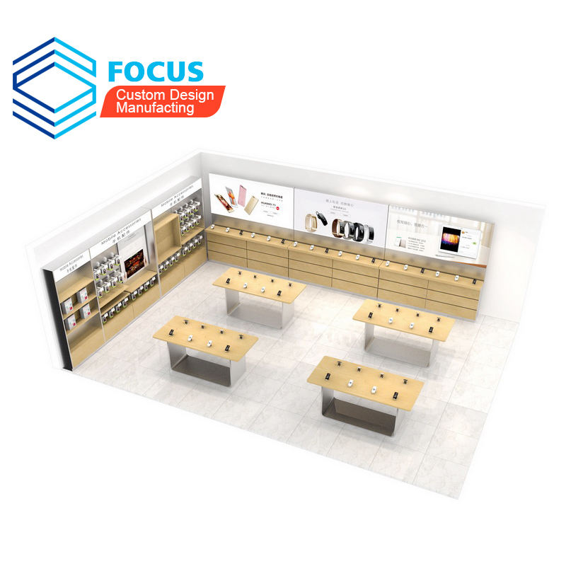 3D model Mobile Phone Shop Counter Design Images Plywood Wood Cell Phone Retail Shop Display Counter For mobile phone