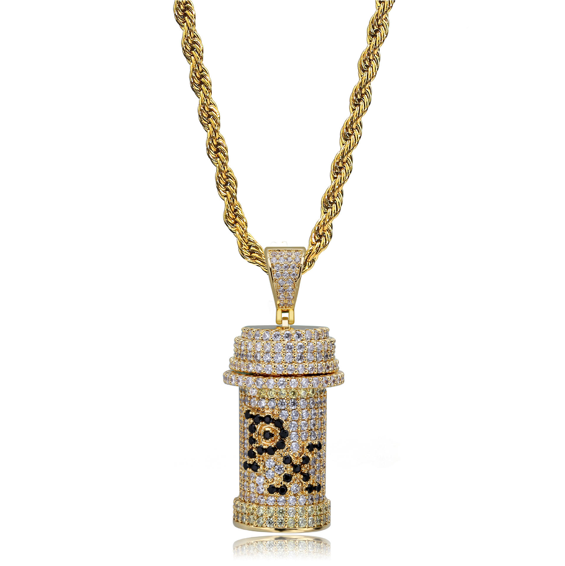 Iced Out Zircon Poison Cans PX HipHop Pendant Necklace Jewelry Drop