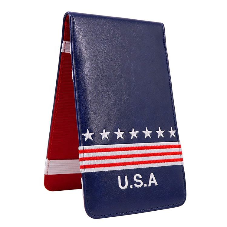 Hot Sale USA Flag Blue leather golf scorecard yardage book cover holder