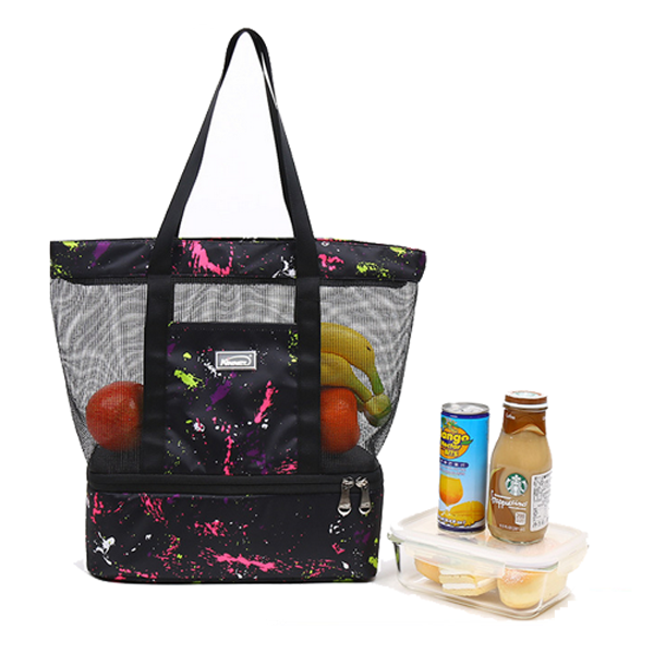 Summer mesh beach tote bag with cooler compartment