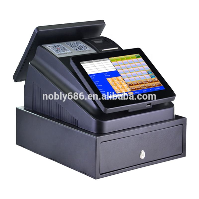 Hot sale! touch screen pos all in one Cash register for sale with thermal printer, OS, Software,cash drawer,dual screen