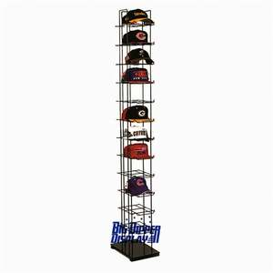 merchandising movable floor standing wooden retail pos tea cup and cowboy hat display cabinet