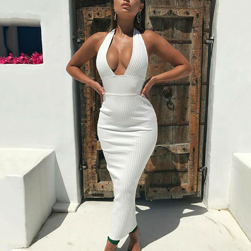 Halter Backless Sexy Pencil Dress Women White Off Shoulder Long Bodycon Party Long Dress Maxi Elegant Club Wear Y11412