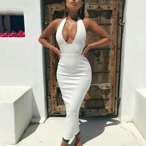 Halter Backless Sexy Potlood Jurk Vrouwen Wit Off Shoulder Lange Bodycon Party Lange Jurk Maxi Elegante Club Wear Y11412