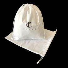 Promotional bleached 28x32cm white cotton muslin bags drawstring shoes dust pouches