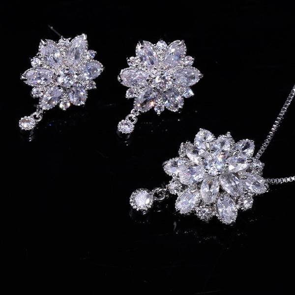 2016 latest rhodium gold plated AAA cubic zirconia floral jewelry sets for bride