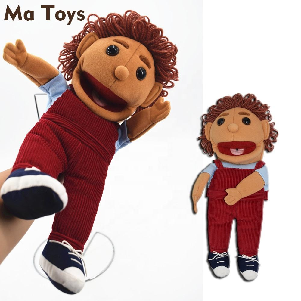 Custom Stuffed Full body Human doll big mouth hand puppets for sale