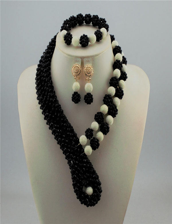 Beautifical jewelry african necklace beads bridal wedding jewelry set XGS37