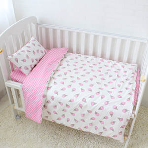 cartorn pink ice cream 100% cotton baby bedding 3 piece set babi crib blanket quilt pillow cover
