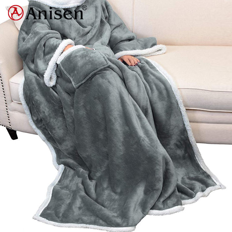 Hot Sale Wearable Sherpa Custom Winter Soft Wholesale Tv Sofa Throw Flannel Fleece Blanket with Sleeves