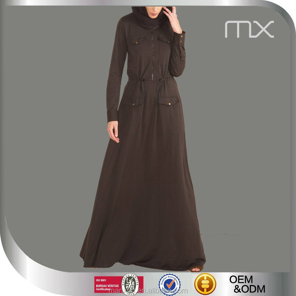 Popular 2015 New Arrival Brown Full Lenth Zip Dress Nice Pocket Abaya