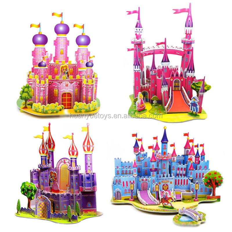 3D Puzzle pink castle building models assembly paper toys jigsaw puzzles