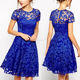 Wholesale 2020 Evening Designs Knee Length Short Clothes Latest Formal Blue Lace Dress Patterns For Women