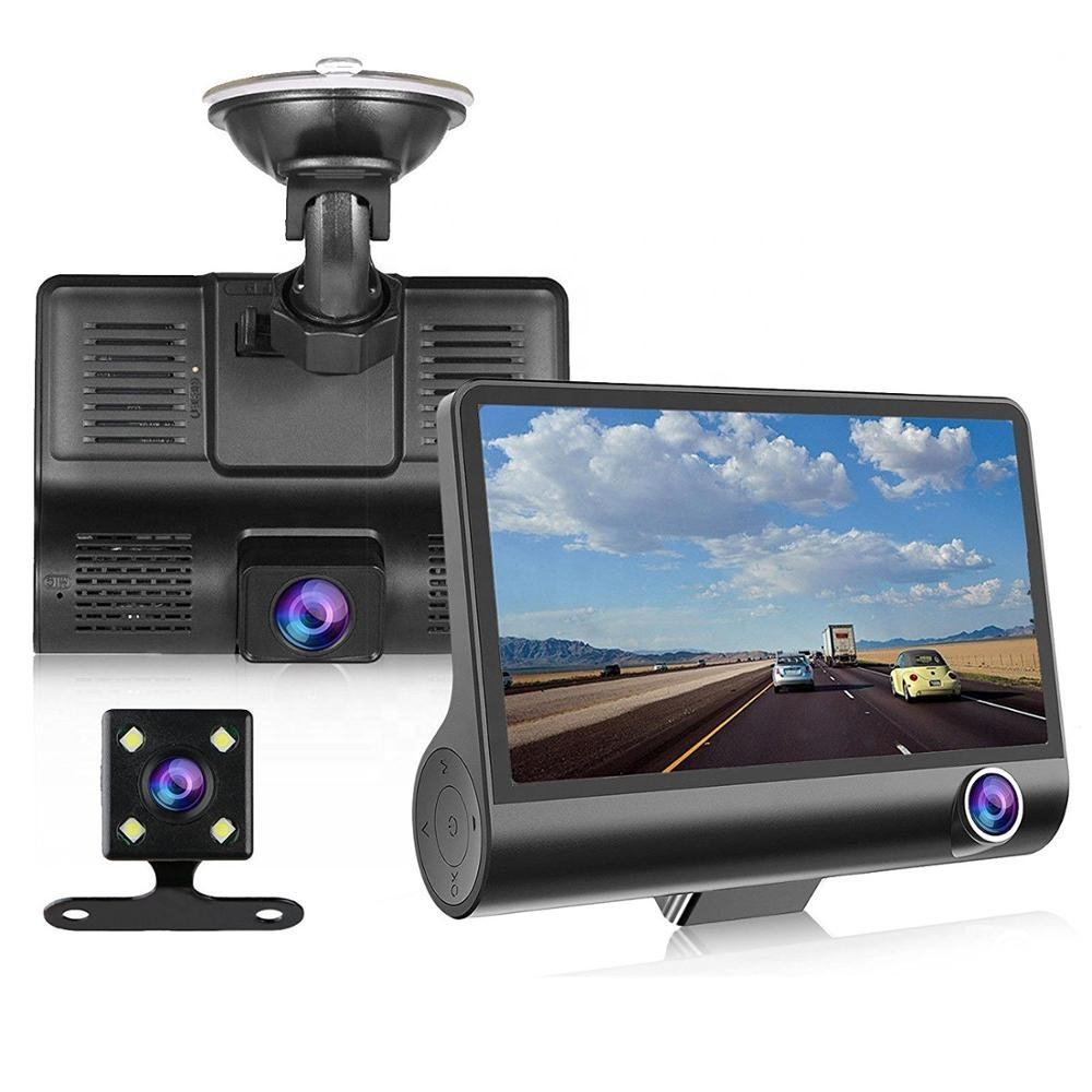 Hot Sale Multi-language Car Black Box 4 Inch IPS Screen Three Lens Car DVR HD 1080P Vehicle Driving Recorder Car Camera