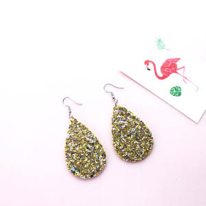 Fashion Lightweight Glitters Dangle Teardrop Leather Earrings