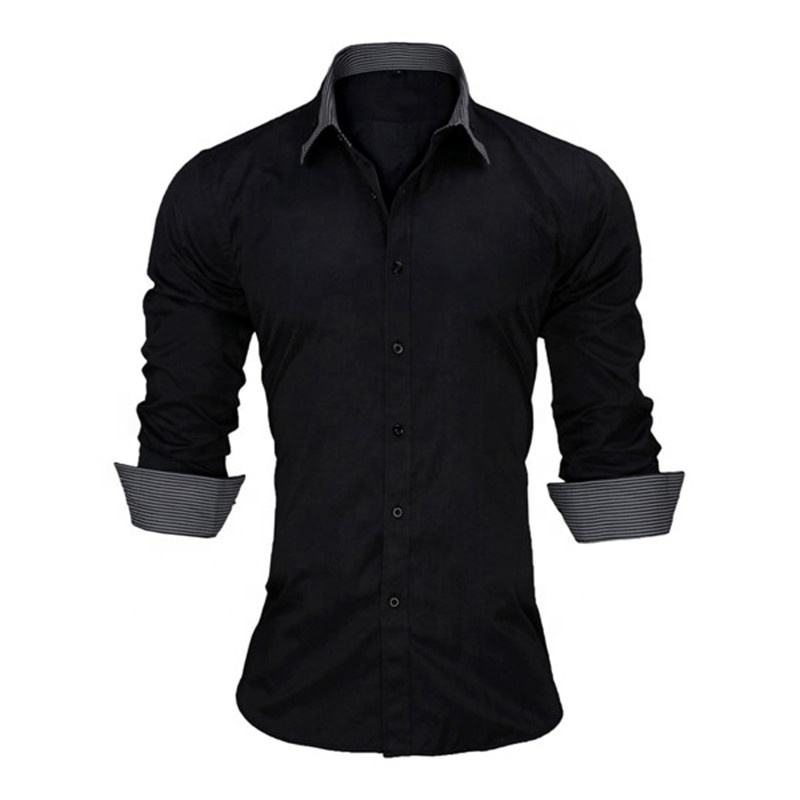 Wholesale Fashion Design 100% Cotton Long Sleeve Polo Casual Formal Office Custom Men Tops Shirts
