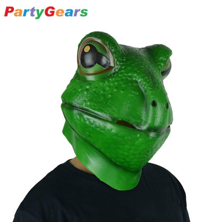 PartyCostume Costume dHalloween F/ête Masques de Latex T/ête Animale Grenouille Vert