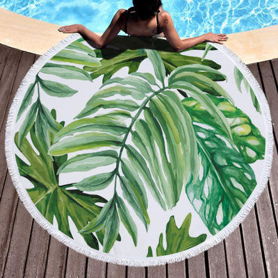 Wholesale Luxury Sand Free Funky Sublimation Green Plant Palm Leaf Round Beach Towel