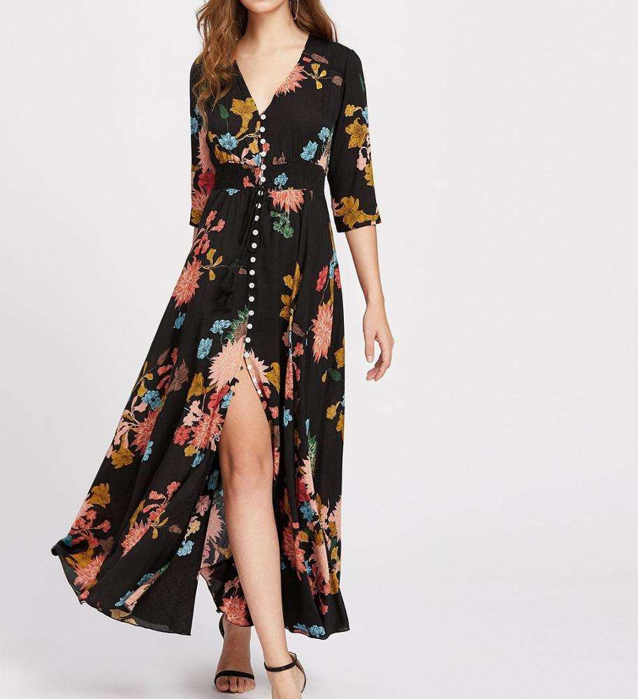 Hot Sale Half Sleeve Button up V Neck Floral Print Women Maxi Dress