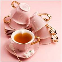 EU Market elegant Ceramic tea cup and saucer heart shaped with gold rimmed handle