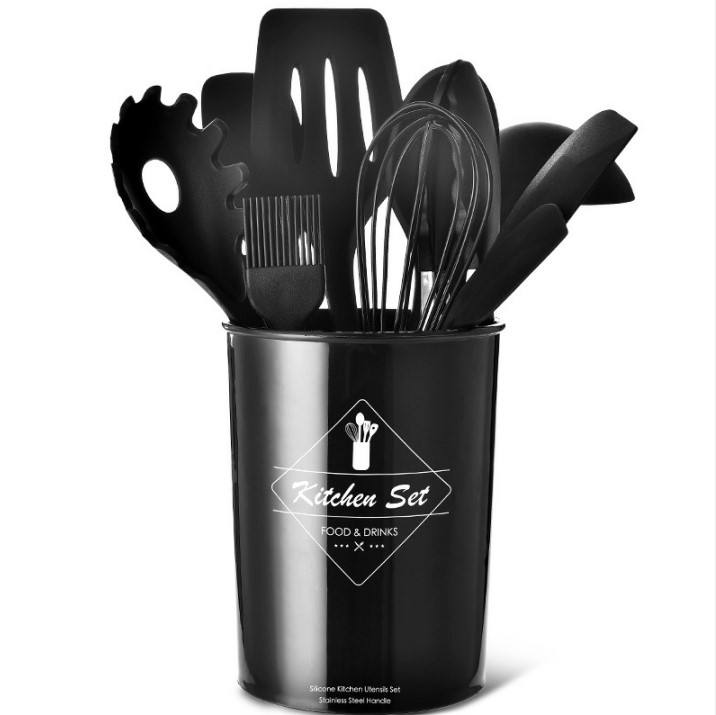 11 Piece Kitchen Utensil Set With Holder And Color Box Stainless steel tube silicone kitchen utensils cooking tools set