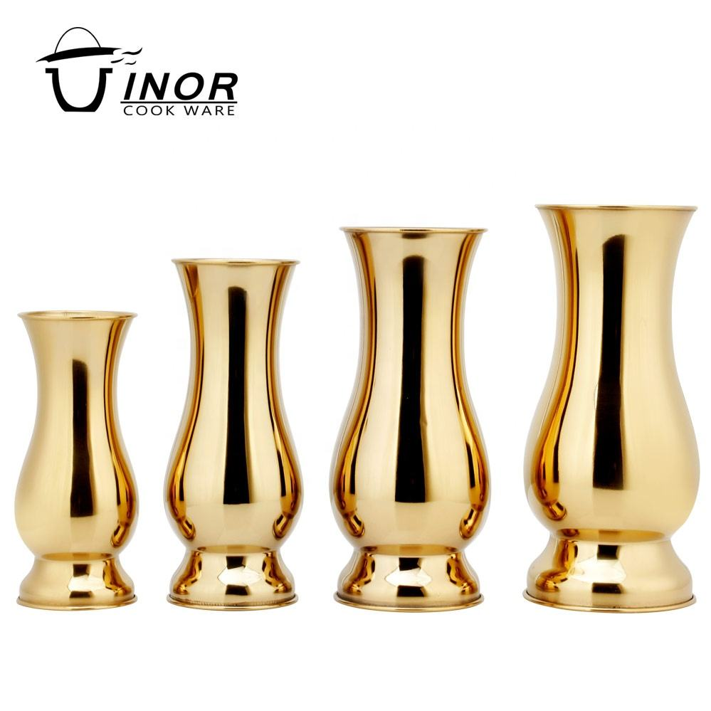 home decor rose gold small metal chinese vase for party decoration