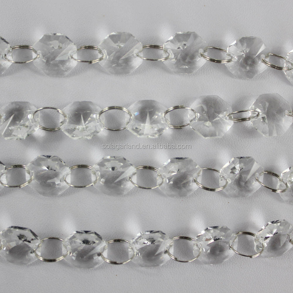 Chandelier Prisms Lamp Hanging Parts 14mm Clear Crystal 2 Hole Octagon Beads Glass