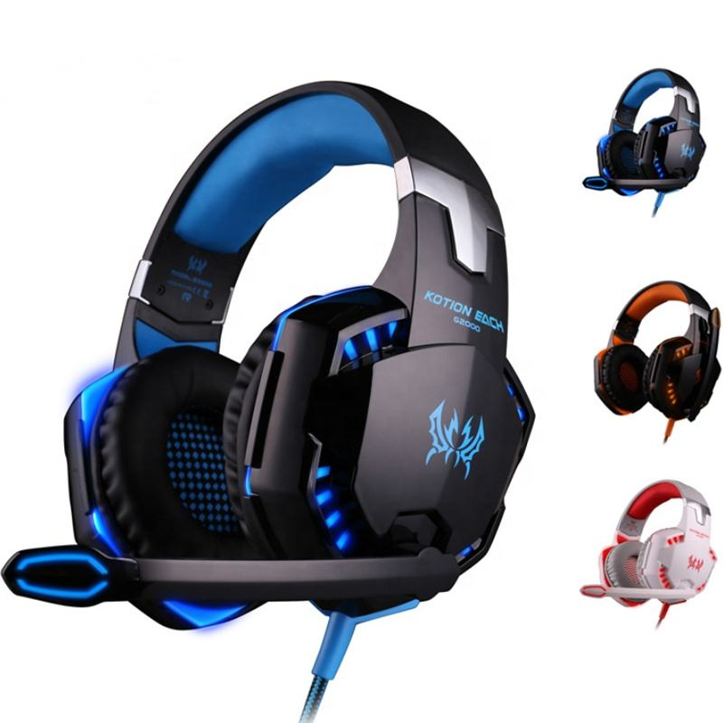 Factory Computer Stereo Gaming Headphones Kotion EACH G2000 With Mic LED Light Earphone Over Ear Wired Headset For PC Game