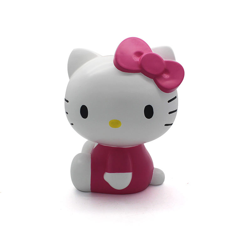 Custom Wholesale Resin Cute Hello Cat Money Box Piggy Coin Bank For Kids