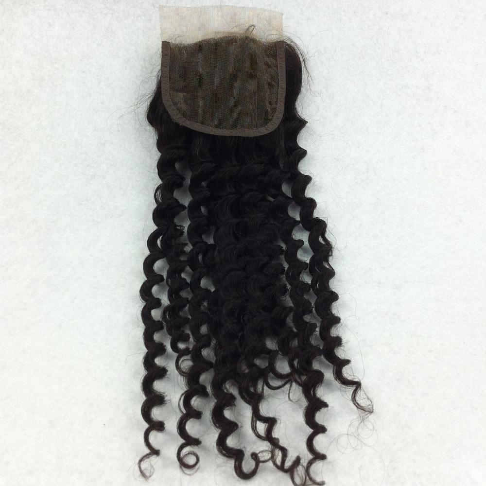Wholesale 8 to 30 inch Brazilian human silk lace closure 6x6 kinky curly texture