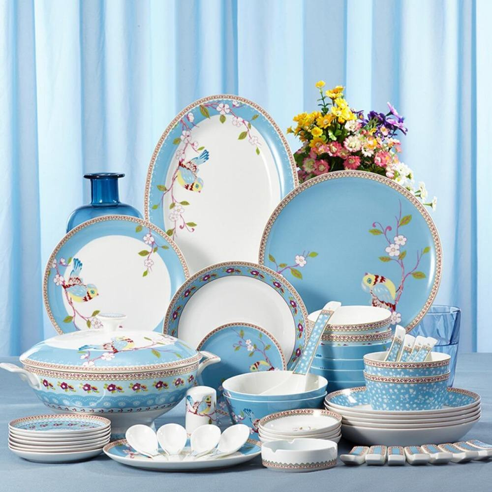 72 pz cena bone china set da tavola di stampa set di stoviglie