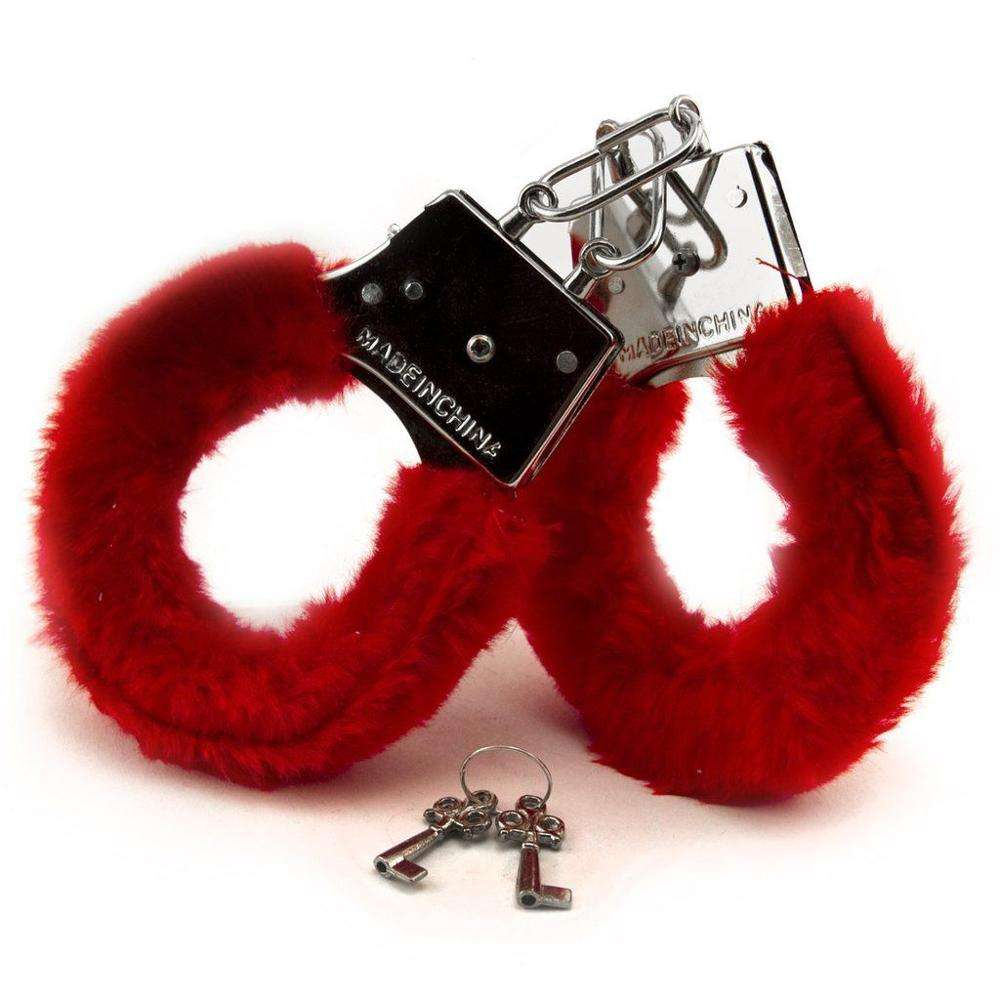 FLUFFY RED BLACK PINK HANDCUFFS FANCY DRESS SEXY ROLE PLAY NIGHT TOY BP3551