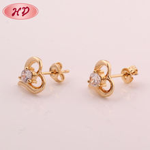 European style fashion changeable 18K gold plated cubic zirconia CZ earrings stud for Women