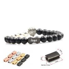 Fashion Natural stone beads 8mm Black Matte Onyx and silver pearl Beads Lion Bracelet customize Logo