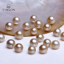 High-Quality 9-11mm Round Gold High Luster South Sea Real Loose Pearls No Hole