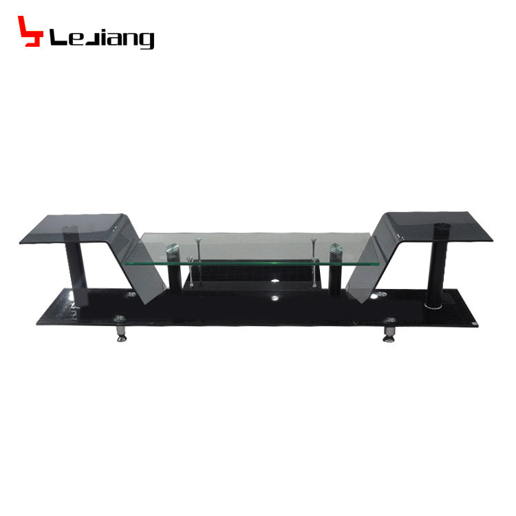long tempered glass and bent glass living TV stand
