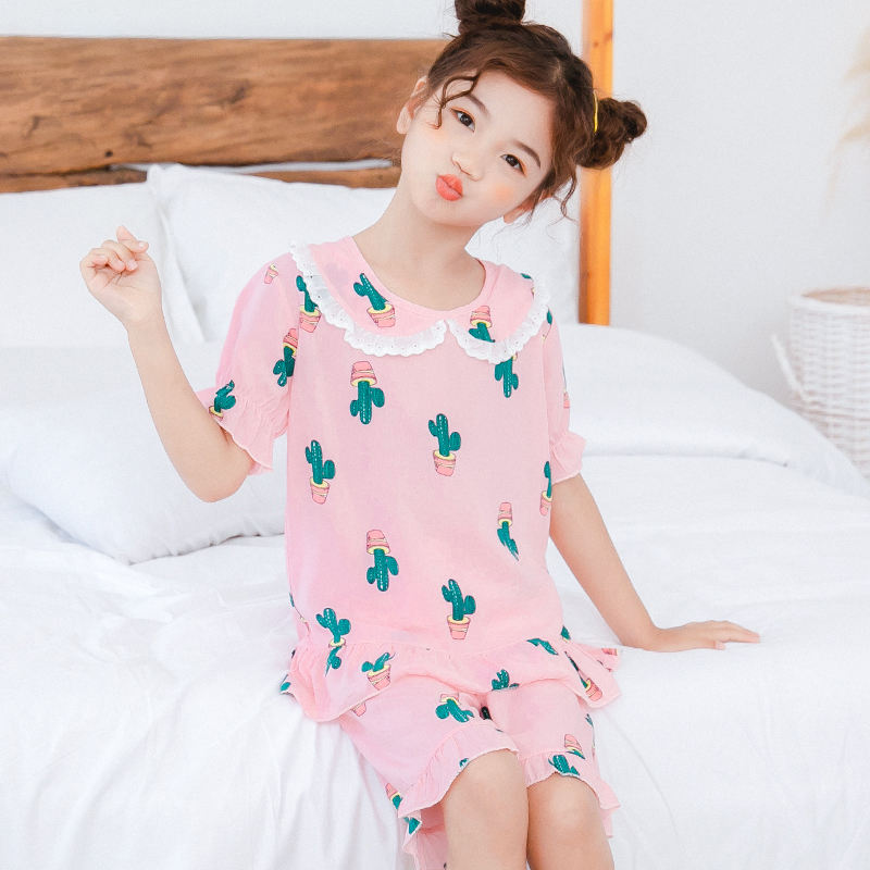 Factory Supply Summer Kids Character Cartoon Sati Plain Girls Sleepwear Pajamas Sets Clothes