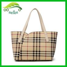 Euro fashion women leather tote bag Classic British style check purse bag