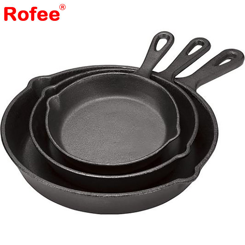 Customized Round Cookware Frying Pan Cast Iron Skillet With Logo