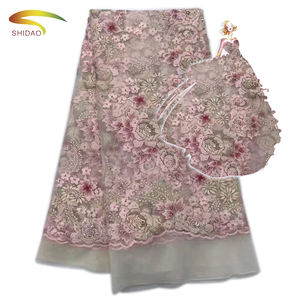 Swiss tulle flower embroidered crystal mesh fabric rhinestone lace dress fabric