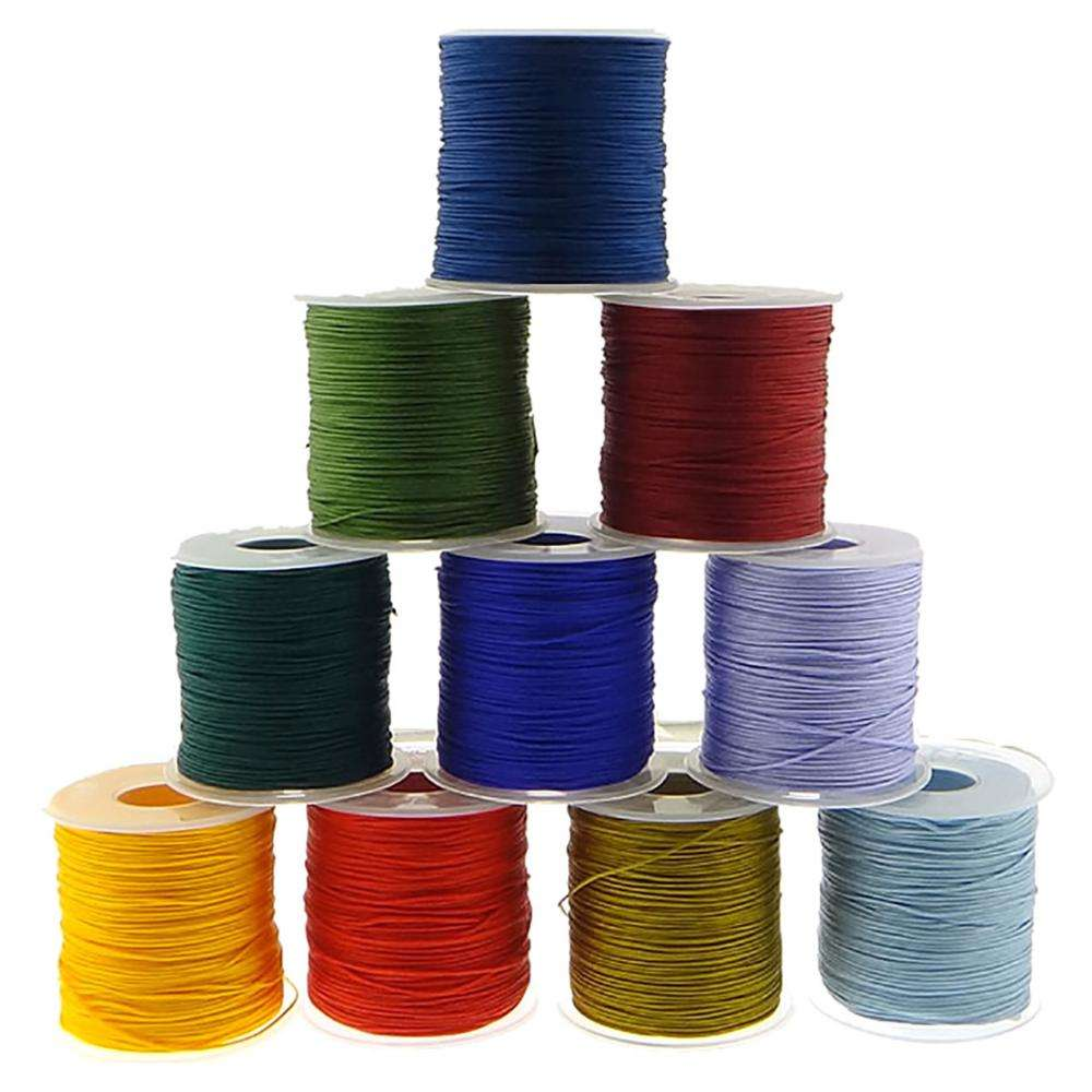 1mm 100Yards/PC wholesale all size colorful flat round waxed cotton cord shoelace wax cord with tips