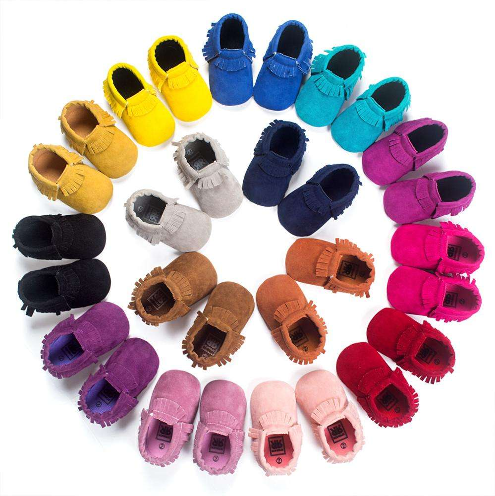 2019 new handmade Fashion suede baby moccasins Shoes Well Spring Footwear pu Leather kids shoes