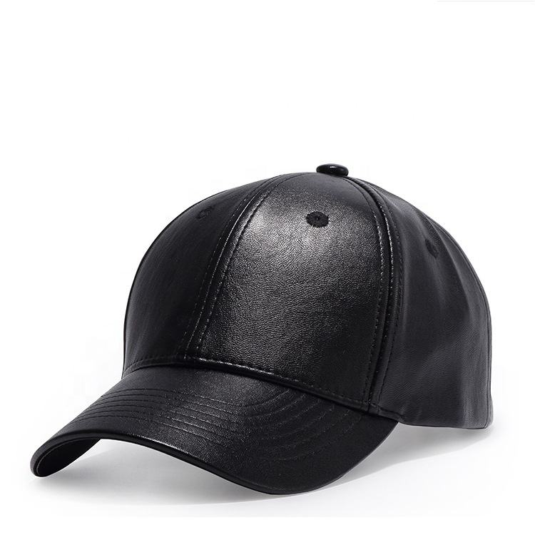 Wholesale 6 panel plain blank men's black fitted custom leather baseball hat